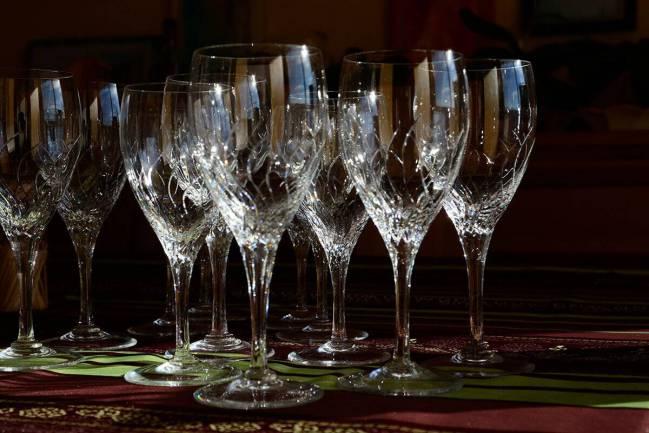 Wine glasses displayed on table.