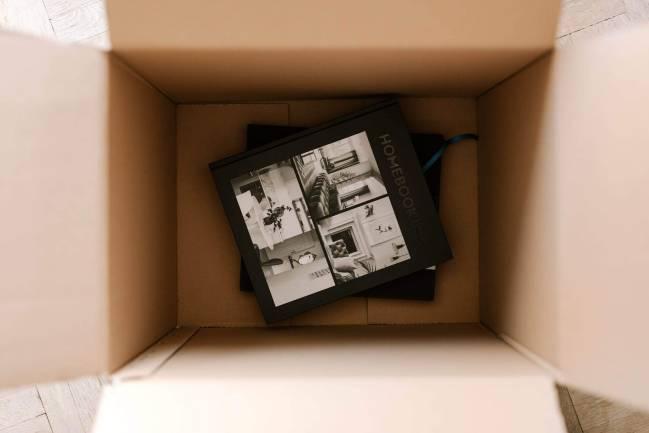 Books in box.