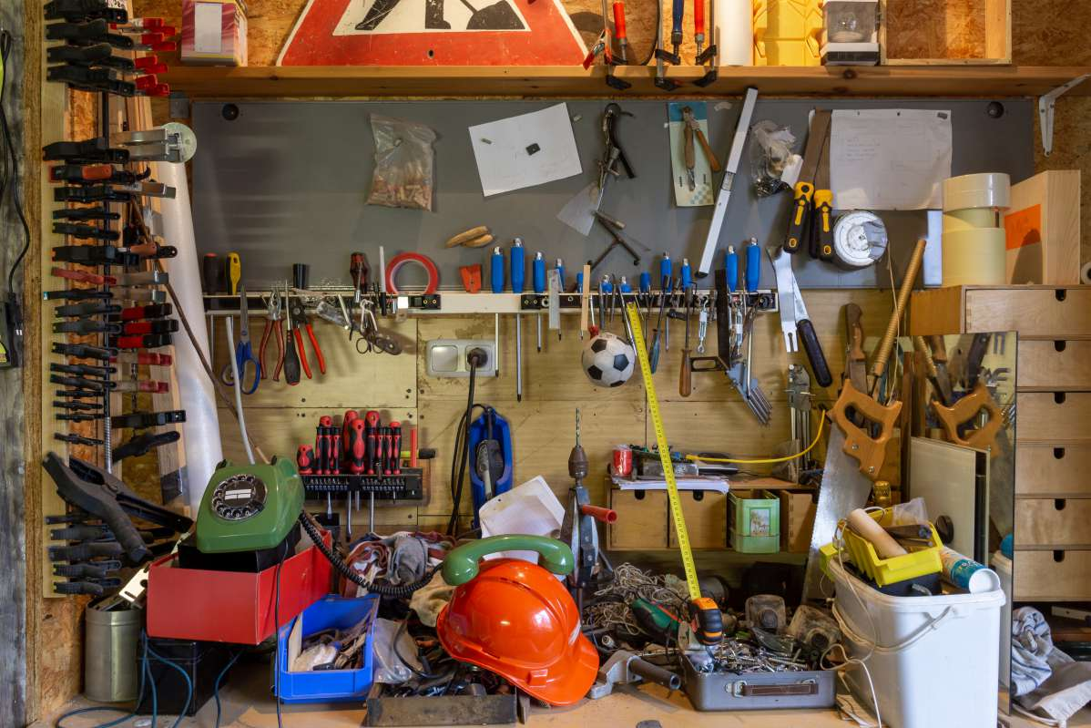 A garage filled with tools