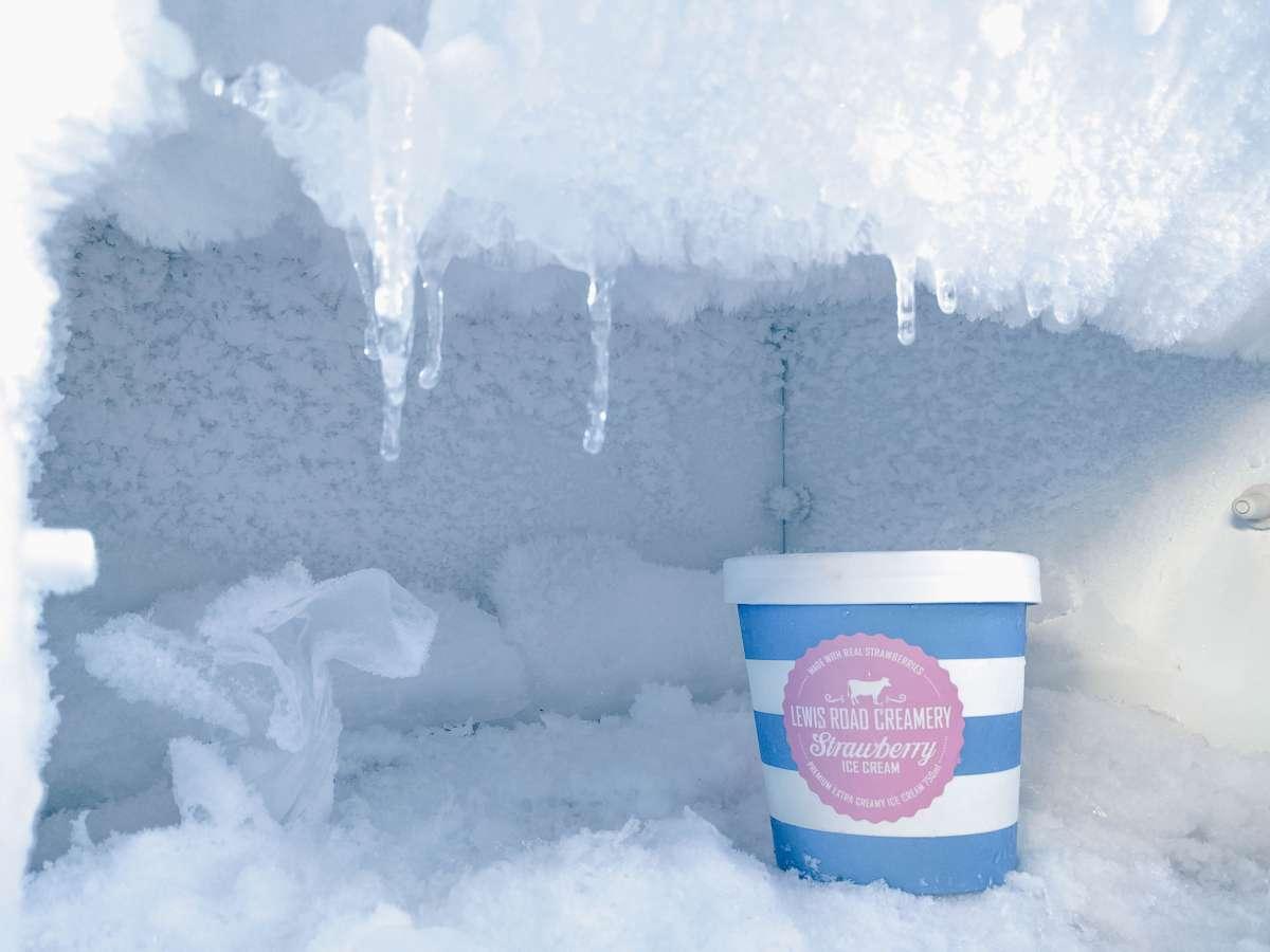 An ice cream in a frozen freezer